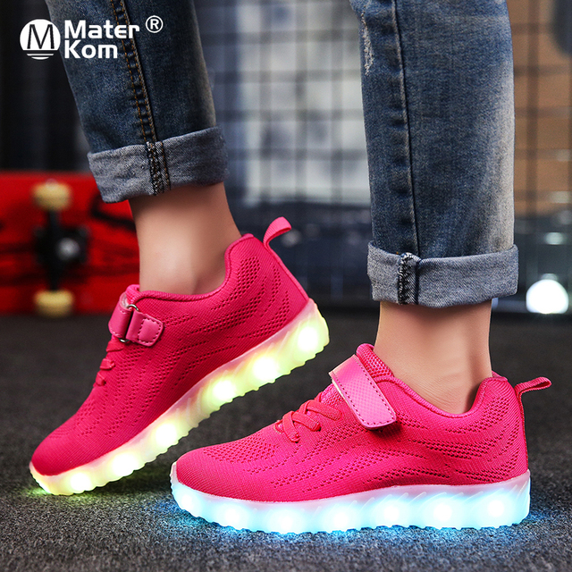 Size 25 37 Children Glowing Sneakers Kid for Boys Girls Shoes with Light up luminous sole canvas shoes luminous led slippers