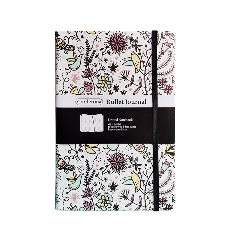 Floral Dot Grid Hard Cover A5 PU Bullet Notebook Elastic Band Travel Dotted Journal Bujo Support Customize