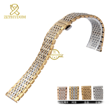 Mince solide métal bracelet en acier inoxydable bracelet 13 18 mm bracelet homme femme montres bande en or rose pour L4.709.209