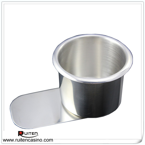 Small Size <font><b>Cup</b></font> <font><b>Holder</b></font> With <font><b>Under</b></font> <font><b>Slide</b></font> Brass and <font><b>Stainless</b></font> <font><b>Steel</b></font> Poker Drink <font><b>Cup</b></font> <font><b>Holder</b></font> Poker Table Accessory - Sold by 10PCS