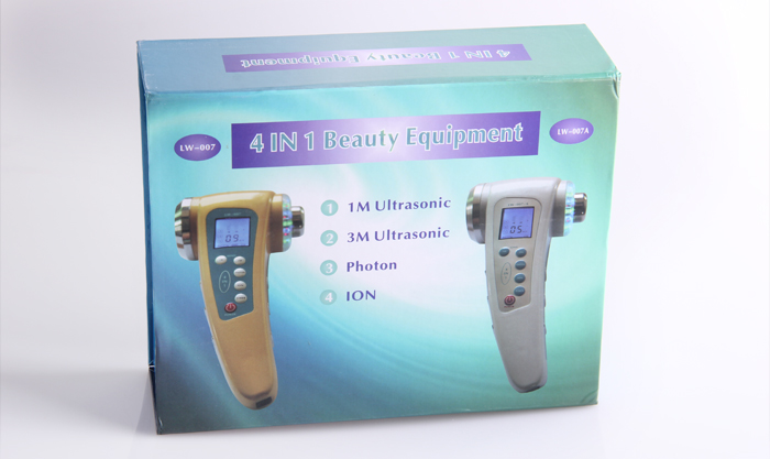 4 IN 1 LCD Display Beauty Equipment 1MHZ Ultrasound+3MHZ Ultrasonic+Galvanic Ion +Led Photon Skin Rejuvenation Facial Massager
