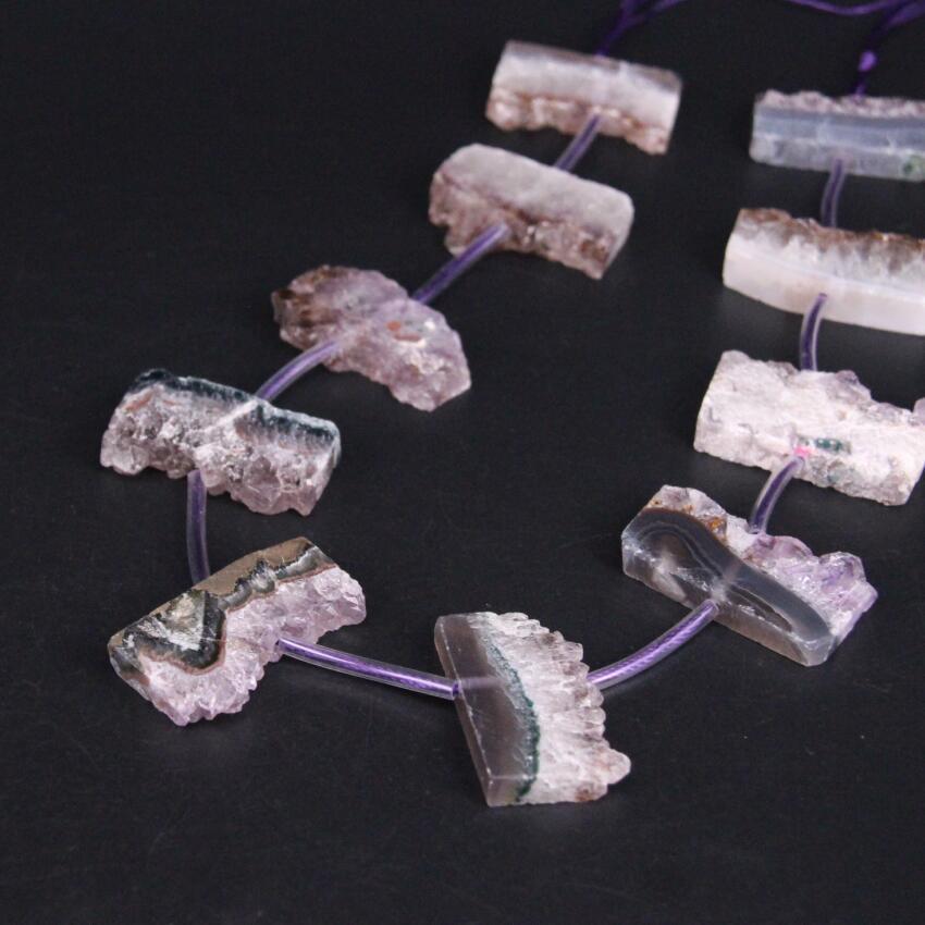15.5/strand Natural Amethysts Quartz Druzy Freeform Slab Nugget Beads,Roug Purple Crystal Drusy Geode Slice Pendant DIY Jewelry