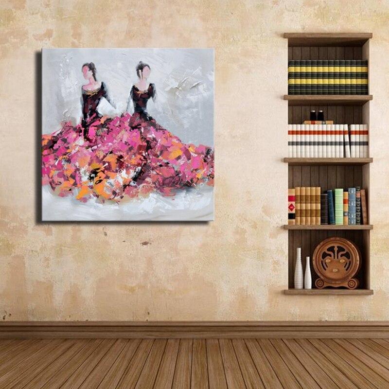 Moderne Abstrakte Ölgemälde Hand Gemalte Figur Malerei Zwei Frauen ...