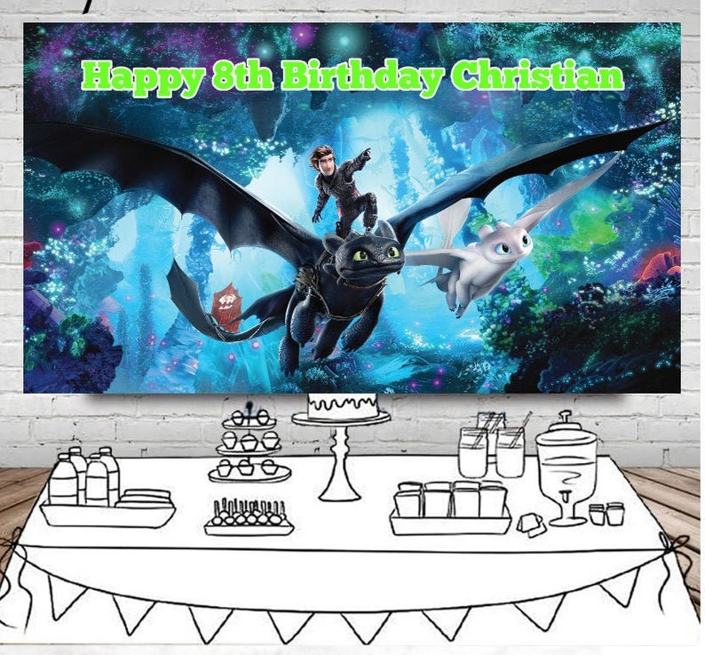 Photography Backdrop How To Train Your Dragon Birthday Party Custom Blue Photo Background Children Newborn Happy Birthday Party