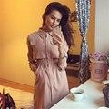Autumn spring Women Long Sleeve sexy long Blouses Casual Tunic Female Shirt Wrap Blouse open front button lapel shirt pink 910