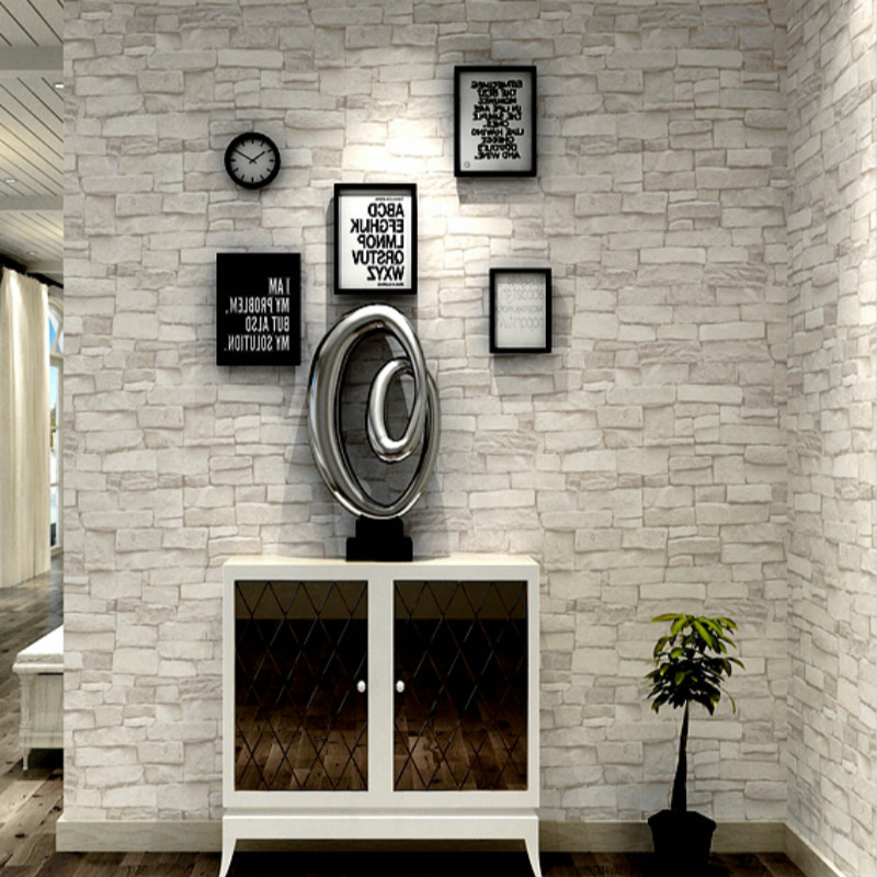 Cream White Grey Vintage Stone Brick Wallpaper For Walls Roll Faux 3D Wallpapers For Living Room Restaurant Non Woven Wall Paper