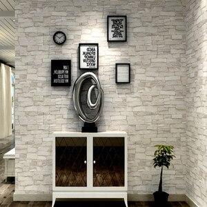 Image 1 - Creme branco do vintage pedra tijolo papel de parede para paredes rolo falso 3d papéis de parede para sala estar restaurante não tecido