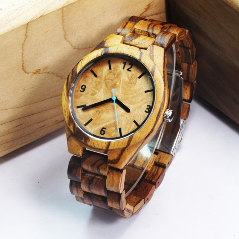 2017Hot Janpan Movement Full Zebra Wooden Watch For Mens Fashion Business Clock For Husband s Gifts