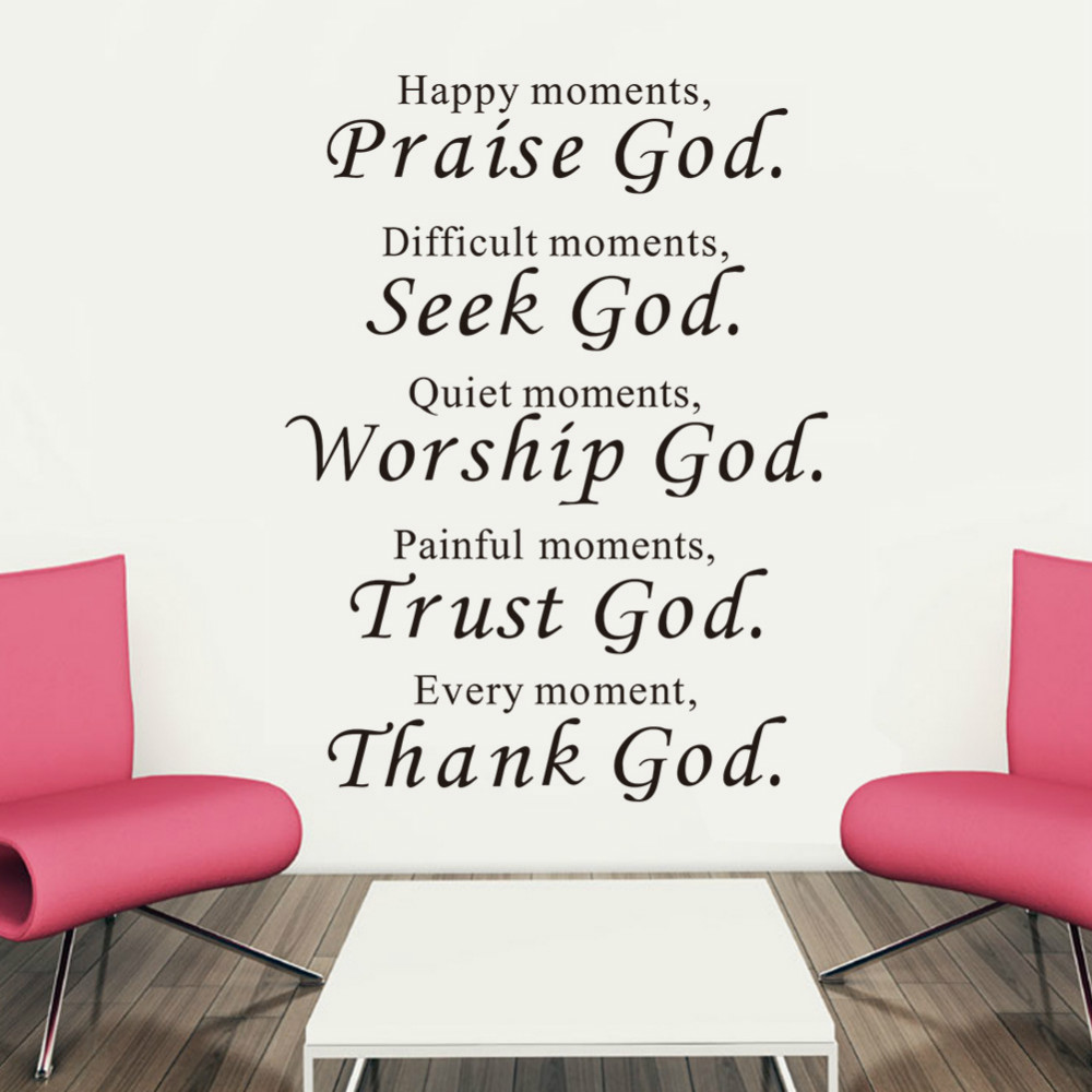 Bible Wall stickers home decor Praise Seek Worship Trust Thank God Quotes Christian Bless Proverbs PVC Decals Living room mural