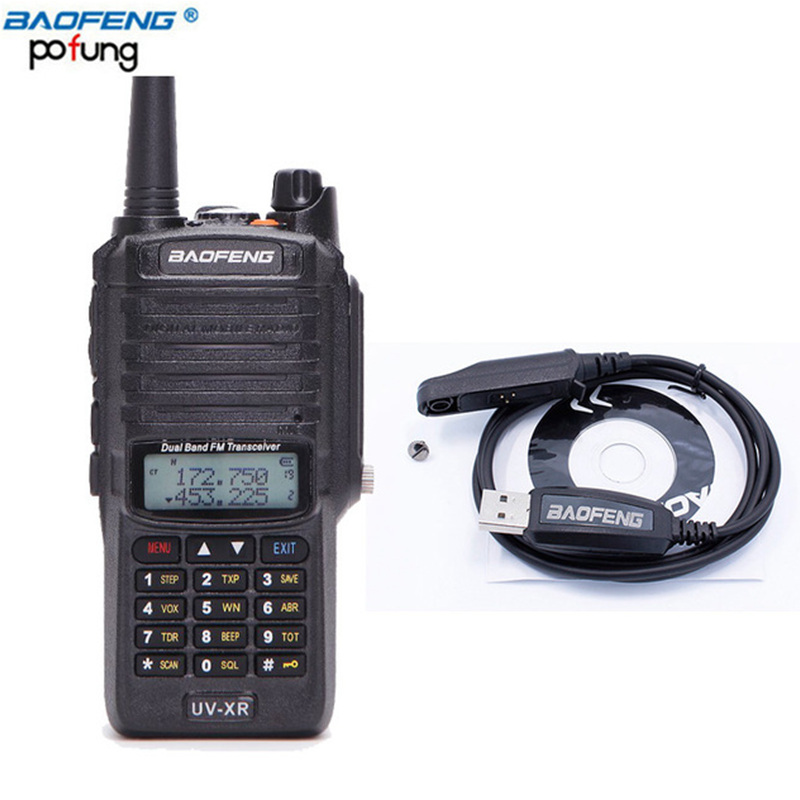 Baofeng UV-XR 10W High Powerful 4800Mah IP67 Waterproof Two Way Radio Dual Band Handheld 10km Walkie Talkie + cable