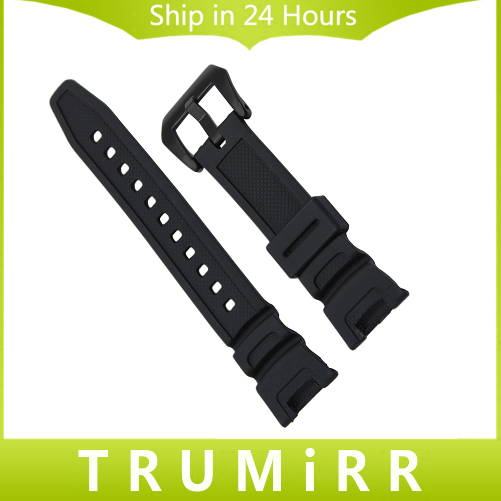 где купить  Silicone Rubber Watchband for SGW-100 Watch Band Sports Waterproof Wrist Strap Stainless Steel Buckle Belt Resin Bracelet Black  дешево