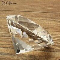KiWarm 80mm Clear Crystal Diamond Shape Paperweight Glass Gem Display Ornament Wedding Home Decoration Art Craft