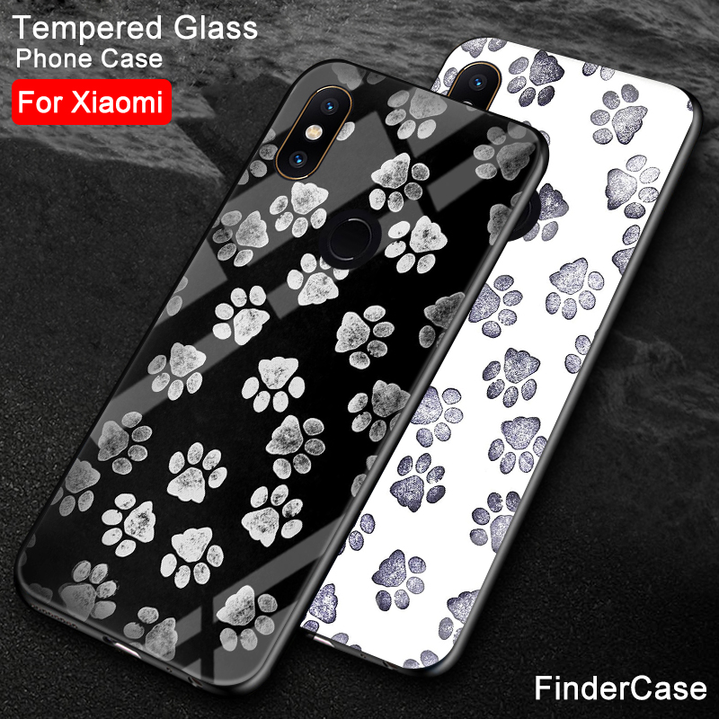 Fitted Cases Findercase For Cover Xiaomi Mix 2 Paw Print Hard Back Tempered Glass Phone Cover For Mix 2 2s Case Xiaomi Mi 8 Se Max 3