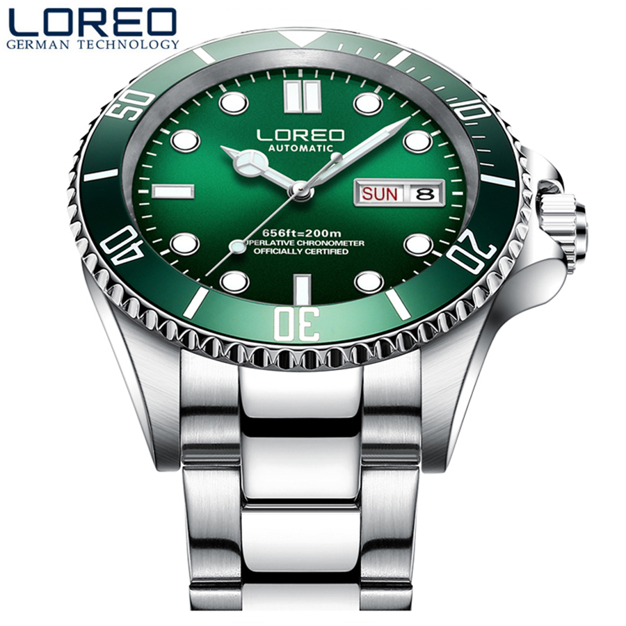 Diving 200M LOREO Top Luxury Brand Date Full steel Dress Watches Waterproof Man Business Casual Automatic