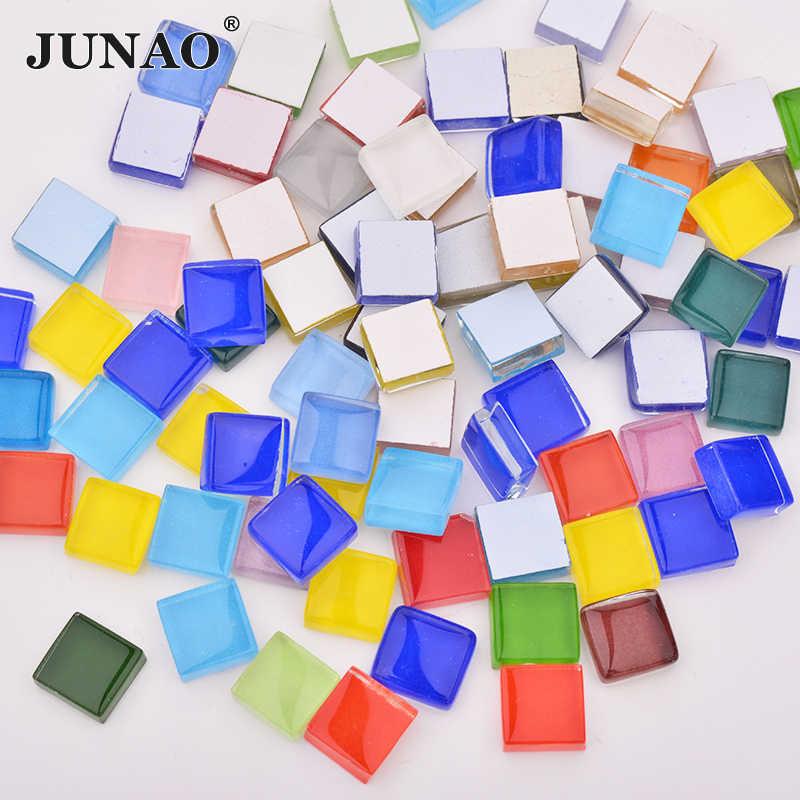 JUNAO, 10mm, mezcla de colores cuadrados, piedras de mosaico de vidrio, azulejos de mosaico de vidrio, guijarros de vidrio, Material de manualidades DIY, fabricación de mosaicos, 30 Uds