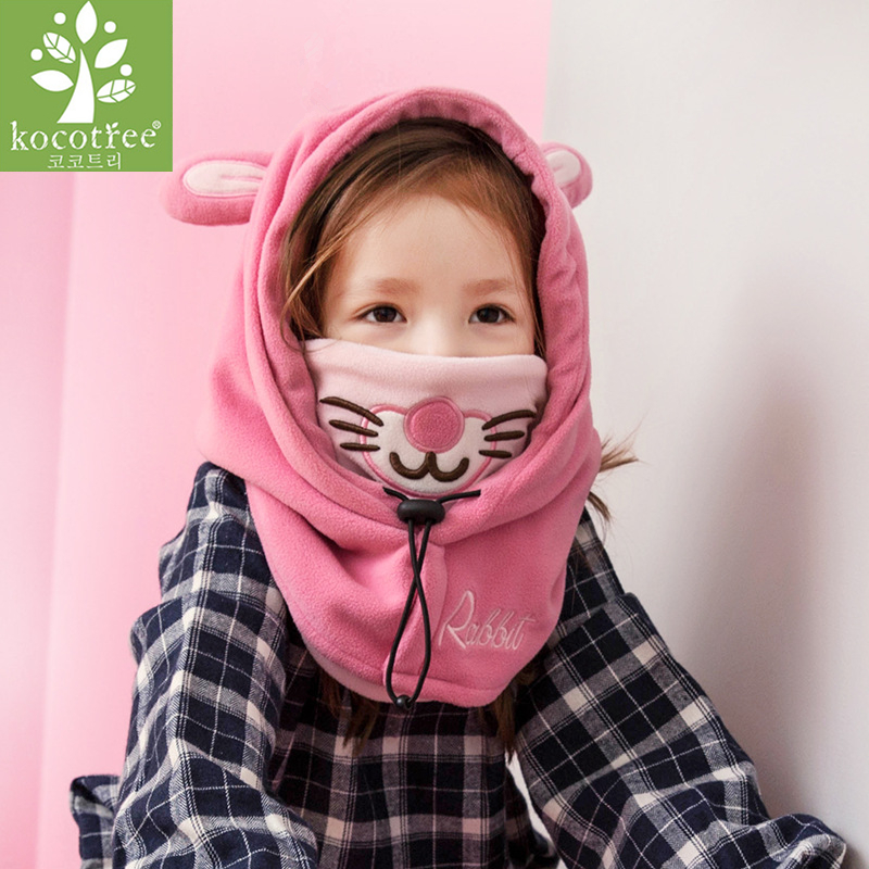 Kocotree Boys Girls Winter Warm Hat Children Cap Skullies Beanie Lovely Character Masked Hood Cap For Kids 1-10 Years Old