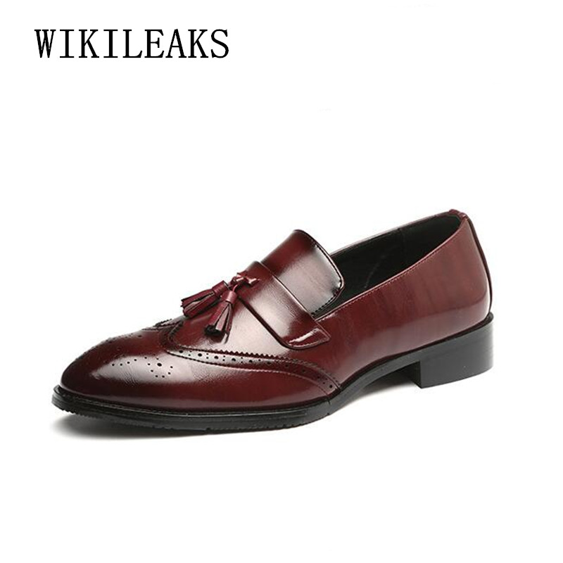 2018 leather shoes men oxford shoes for men formal wedding dress shoes slip on loafers tassel business formal shoes men brogues high quality men fashion business office formal dress breathable cow leather brogue shoes gentleman tassel slip on shoe loafers