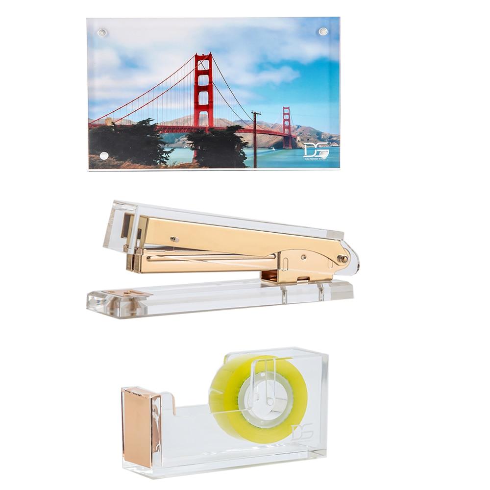 3 stücke/setClear Acryl Bilderrahmen + Klar Gold Acryl Tape ...