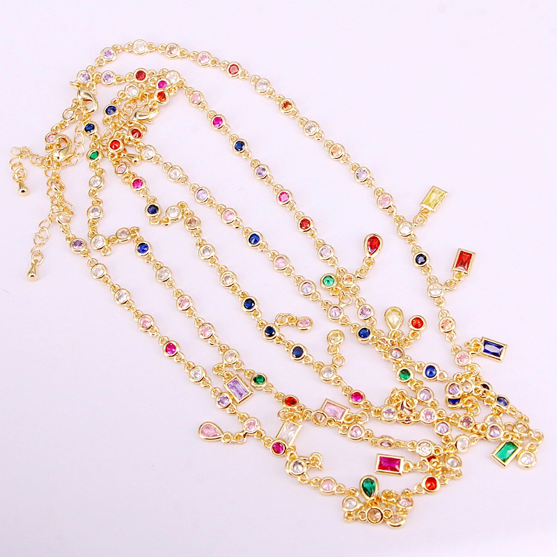6PCS Gold Filled Fashion Multi Crystal CZ Zirconia Stone Chain Necklaces