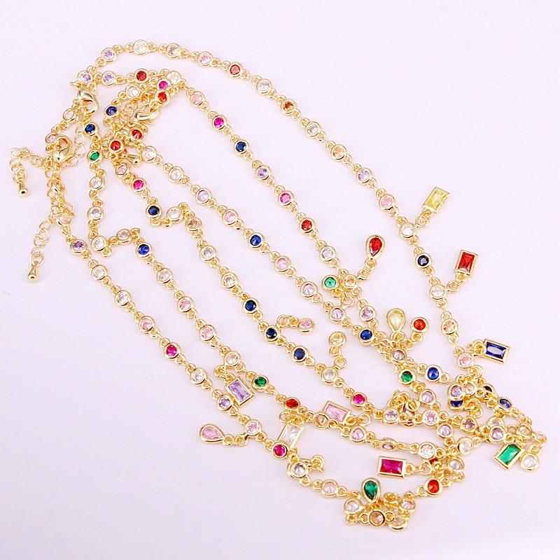 6 STUKS, Gold Filled Fashion Multi Crystal CZ Zirconia Steen Ketting Kettingen-in Schakel ketting van Sieraden & accessoires op  Groep 1