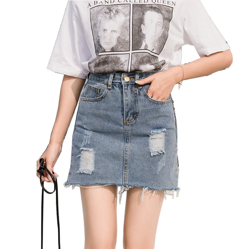 aaea444c48e Купить Ilstile 2018 Для женщин рваные потертые джинсовые короткие Миди юбки  Лето Высокая Талия Повседневное модные