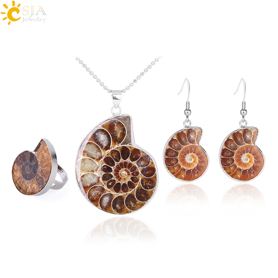 HTB1sdN.XfvsK1RjSspdq6AZepXaN - CSJA Hot Natural Ammonite Stone Jewelry Sets Necklace Earrings Ring Conch Shell Whorl Fossils Pendant Beach Jewellery Women F613