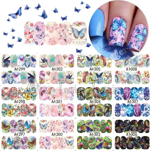 12 Schmetterling Arten Großer Nail Art Wassertransfer Nagel