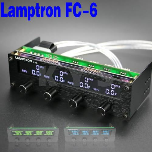 Lamptron FC6 <font><b>5.25</b></font> Driver Place <font><b>Fan</b></font> Speed Controller LCD Screen 4 Channels image