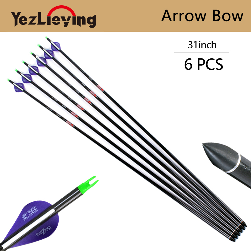 6pc 31 inch high quality carbon arrow purple white feathers replaceable arrows used to restore bow and arrow shooting target