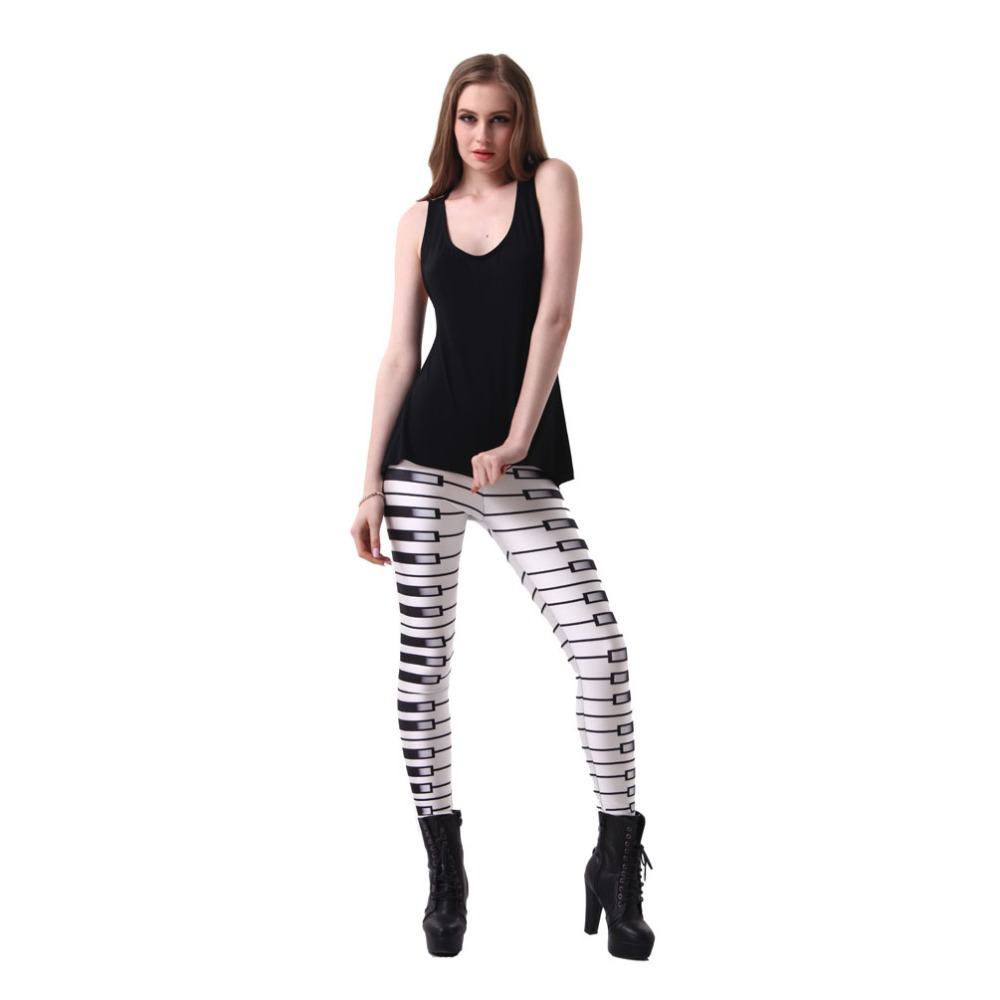 2d19d09dc0044 Sexy Elastic Pants 3D Digital Printing Piano keys Pattern Women Leggings 7  sizes Fitness Clothing Free