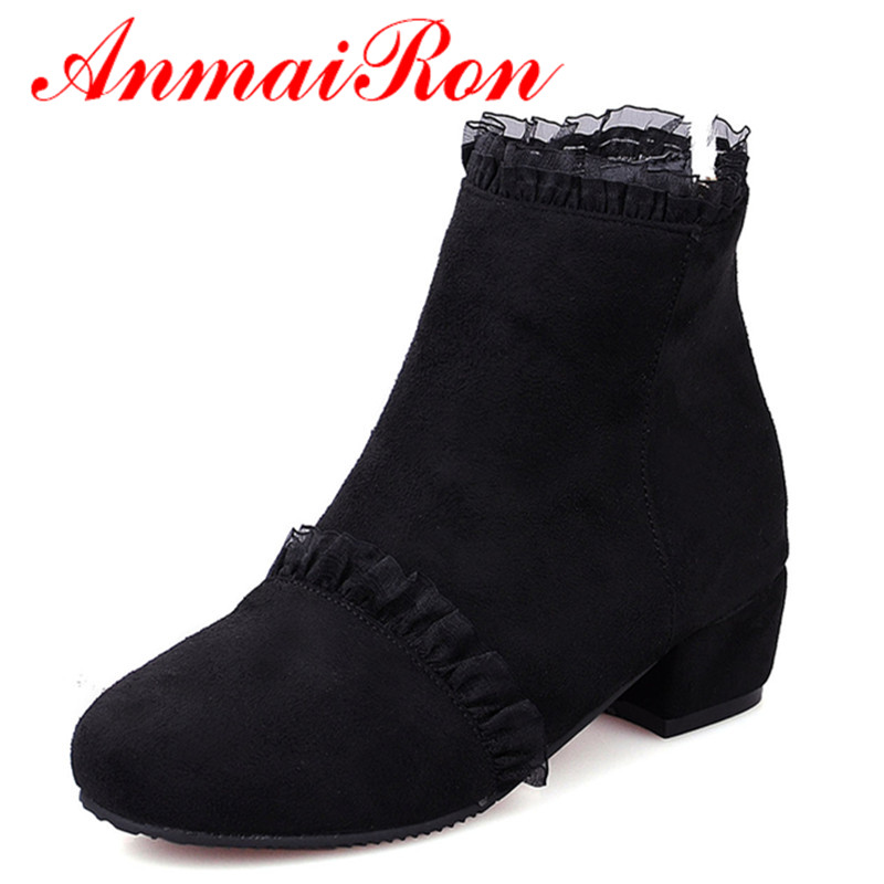 ANMAIRON Classic Black Shoes Woman Lace Charms Low Heels Large Size 34-43 Ankle Boots for Women Round Toe Autumn &Winter Western