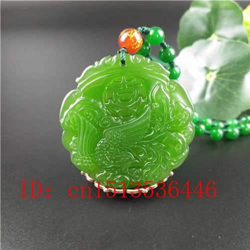 Natural Green Chinese Dragon Phoenix Carved Jade Couple Pendant Beads Necklace Charm Jewellery Fashion Lucky Amulet Gifts