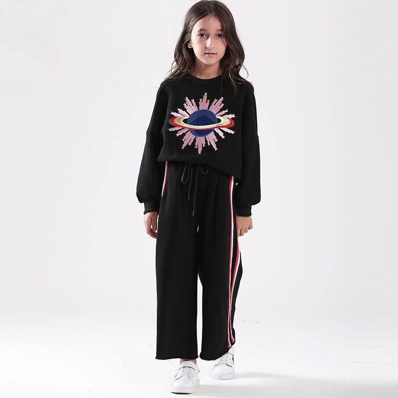 Filles automne costume 2017 chandail brodé + pantalons jambes larges sport 2 pièces ensemble vêtements pour enfants ensemble coton survêtement de sport