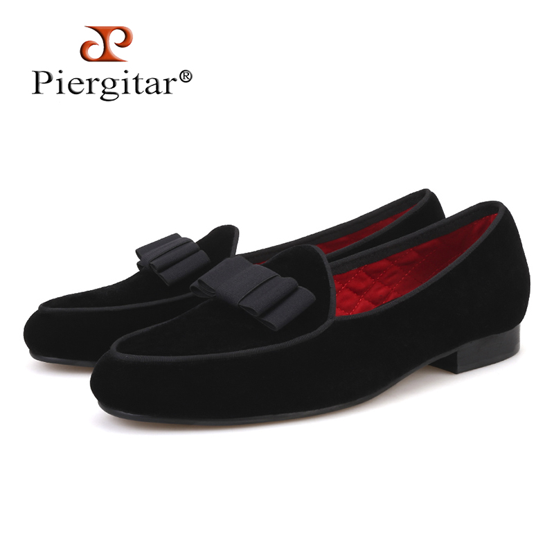 Piergitar new arrival Handmade Men velvet shoes with short Tongue and Bowtie Men party and wedding dress shoes Banquet loafersPiergitar new arrival Handmade Men velvet shoes with short Tongue and Bowtie Men party and wedding dress shoes Banquet loafers