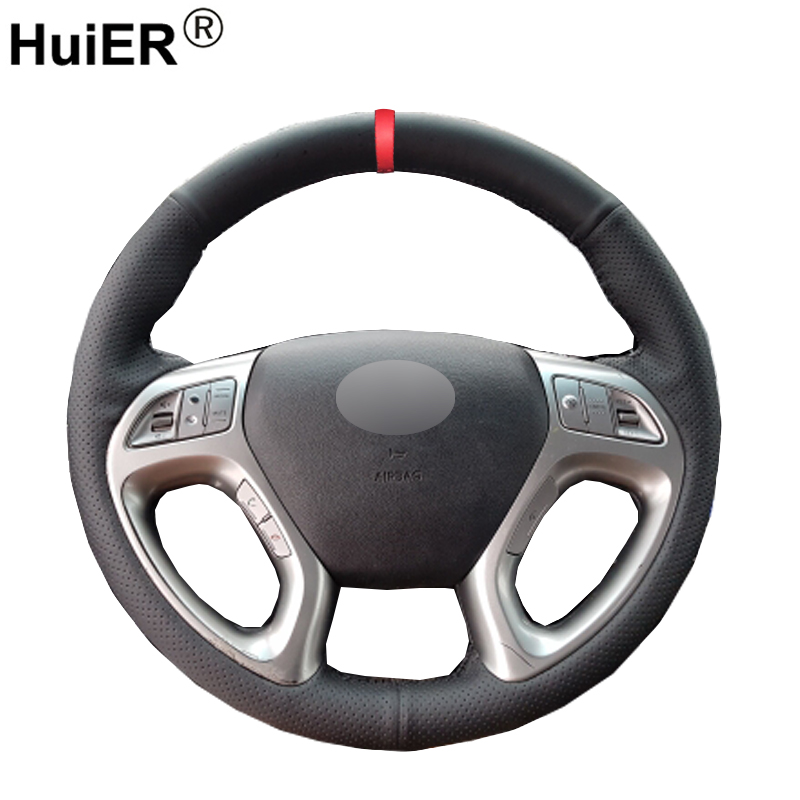 HuiER Hand Sew Car Steering Wheel Cover Red Marker For Hyundai ix35 Tucson 2 2011-2015 Wear-resistant Non-slip Car Styling