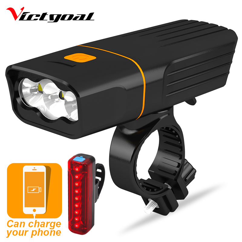 VICTGOAL Bike Light USB Rechargeable Front LED Waterproof Flashlight For Bicycle Light Bright Cycling Headlight Taillight Sets