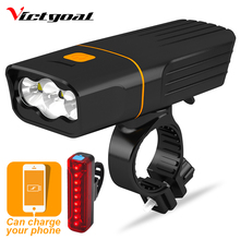 VICTGOAL Bike Light USB Rechargeable Front LED Waterproof Flashlight for Bicycle Bright Cycling Headlight Taillight Sets