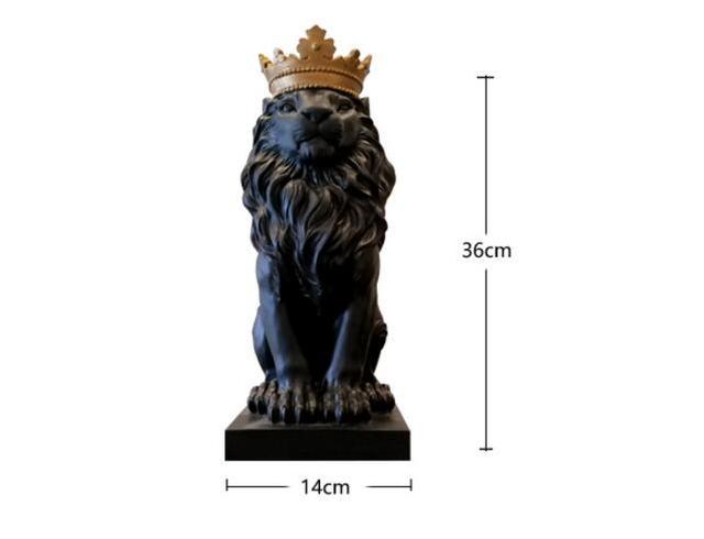 Black crown lion statue handicraft decorations christmas decorations for home sculpture escultura home decoration accessories 2