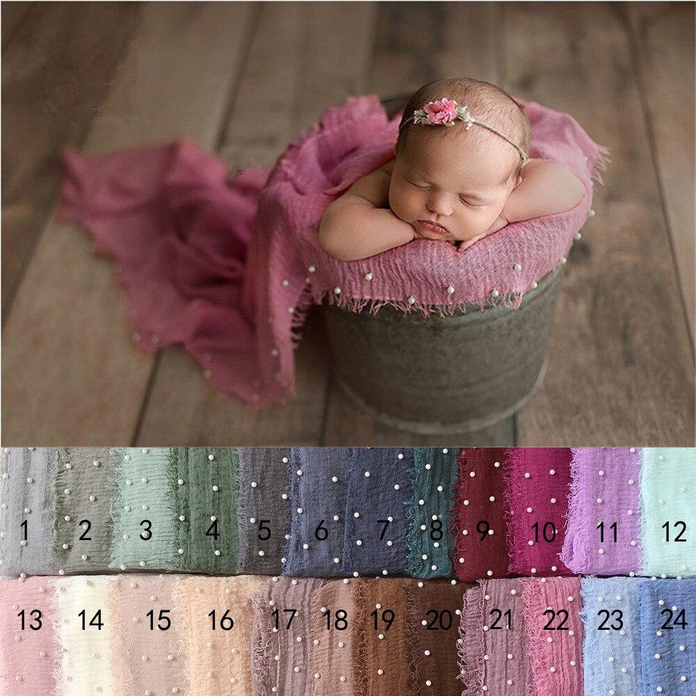 Pearl Fold Cotton Tassels wrap Newborn Photography Props blanket newborn-wraps-photography knit wraps baby hammock prop filler