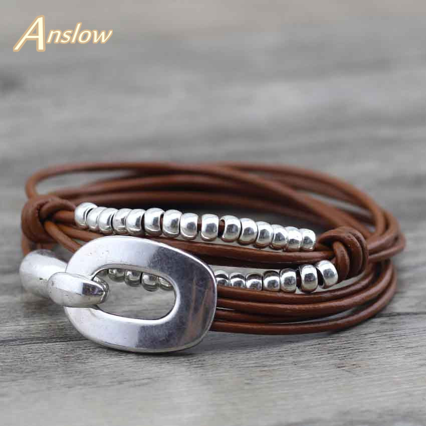 Anslow S Vintage Men Bracelet Genuine Leather Bracelet DIY Father's Day Gift LOW0575LB