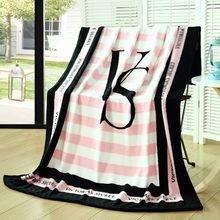 microfiber flannel blanket fashion style Pink VS Secret pattern throw blanket 130*150cm size for sofa/bed/plane travel home