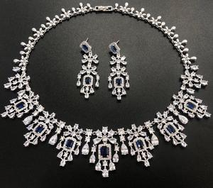 Image 2 - HIBRIDE Elegant Russian Women Bridal Jewelry Set AAA Cubic Zircon Pave Necklace Earring Sets for Engagement Accessories N 1048