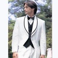 Stylish Small Collar Groomsmen Suits For Wedding Fashionable Men's Prom Tuxedos White Masculino Ternos (Coat+Pants+Vest)