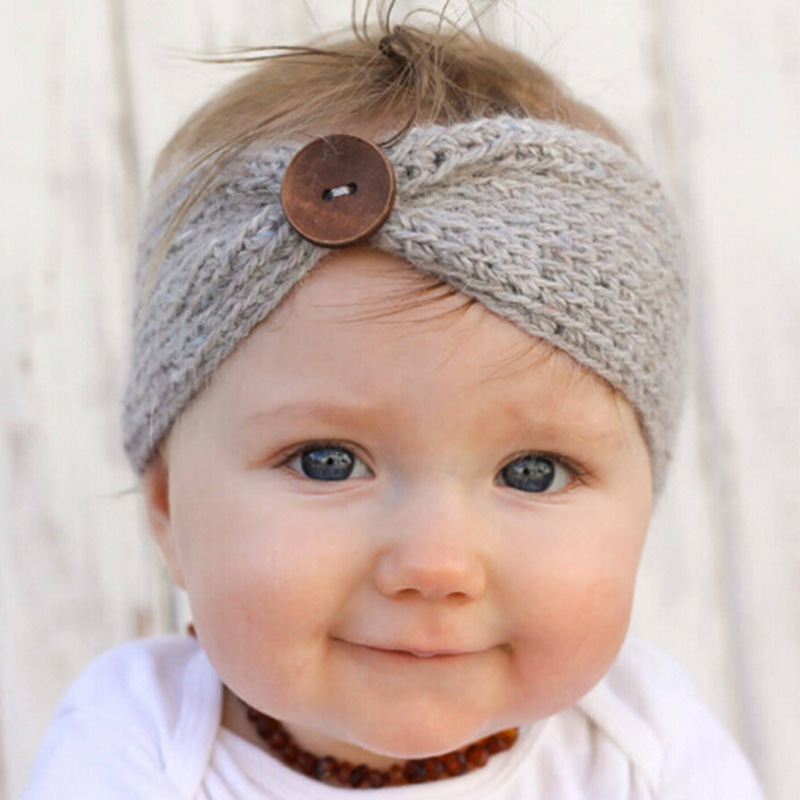 Neugeborenen Turban Ohr Winter Warm Button Stirnband Häkeln Strick Headwear Kinder Hairband Headwrap Haarband Zubehör