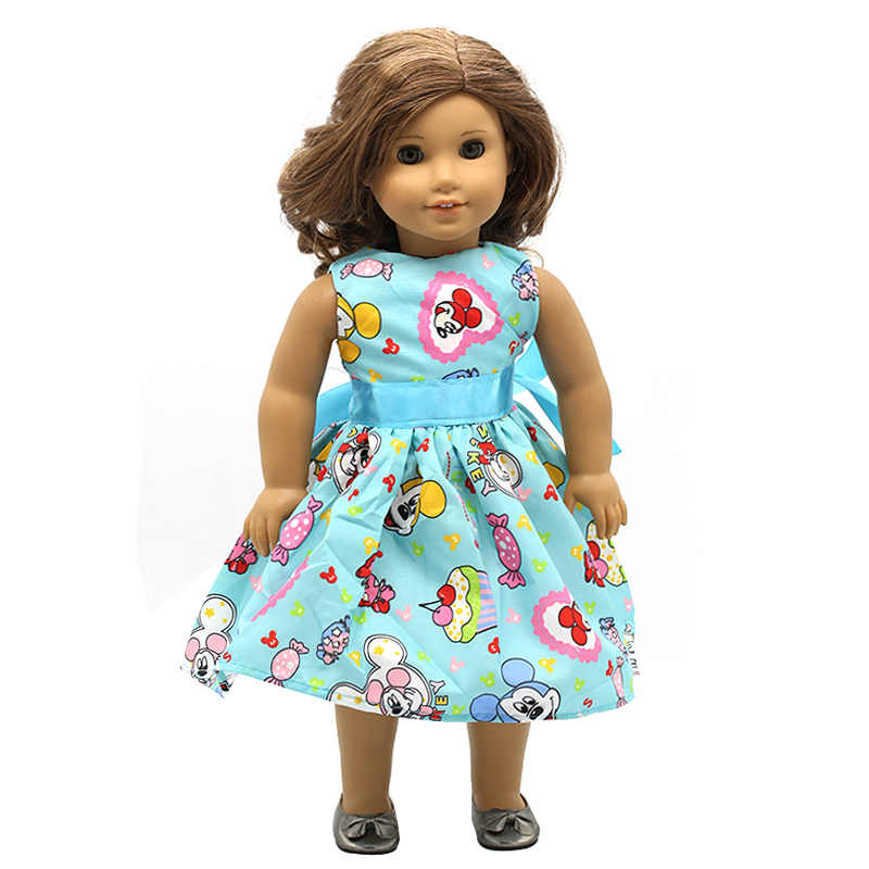 Doll Accessories American Girl Dolls Clothes 15 Style Cute Cartoon Logo Print Dress for 16 18