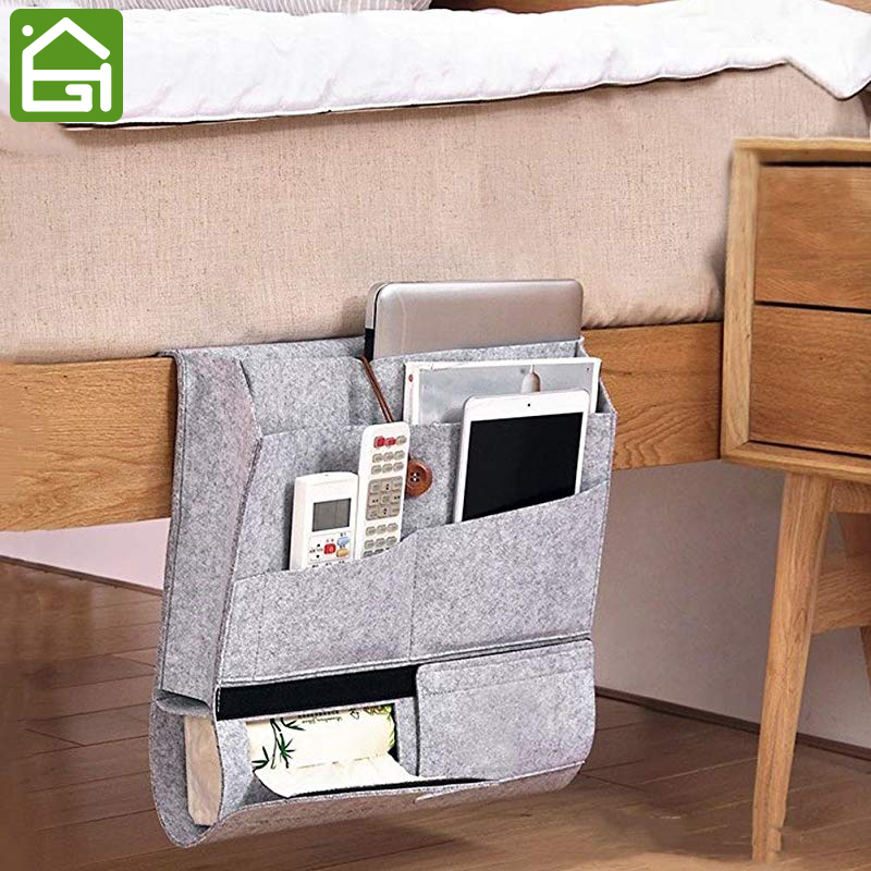 Bedside Caddy Felt Bed Storage with 2 Large 4 Small Pockets for Organizer Remoter Control Phone and Magazine