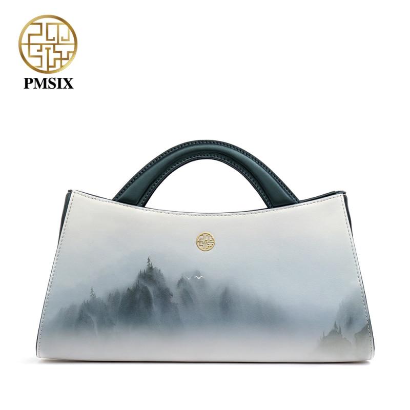 Pmsix 2019分割レザー女性バッグデザイナーハンドバッグライトカラーシンプルなファッションショルダーバッグハーフムーントートクラッチバッグP120115