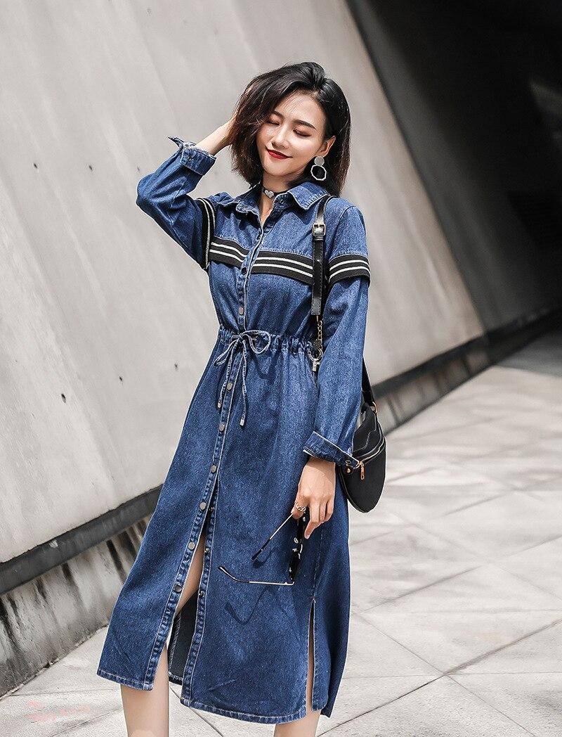 Denim   trench   coat striped dress Plus Size New Spring Streetwear Denim long   Trench   Coat For Women Blue windbreaker Outerwear