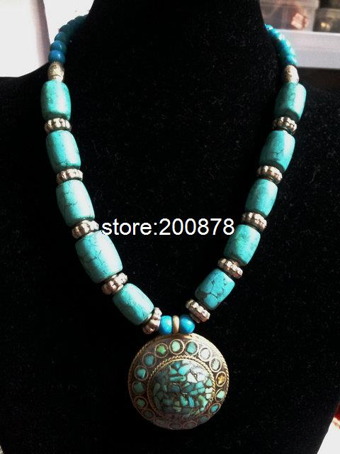 vintage ethnic indian big beaded wholesle pendant turquoise nepal necklace handmade item tibetan jewelry tibet green
