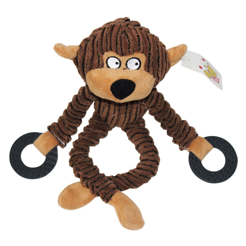Animal Shape Corduroy Little Pet Dog Cat Chew Toy Teeth Cleaning Training Play Chew Rope Monkey Bear Cow Toys thumbnail